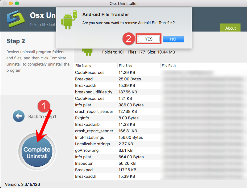 Uninstall Android File Transfer using Osx Uninstaller (2)
