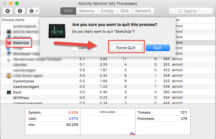force quit SketchUp