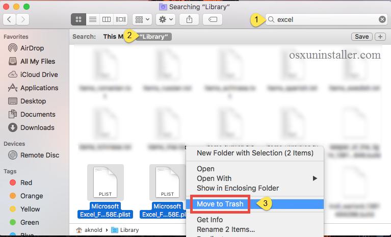 delete Microsoft Excel 2016 leftovers- osxuninstaller (1)