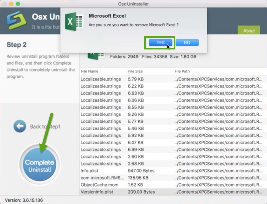 uninstall Microsoft Excel 2016 with Osx Uninstaller (2)