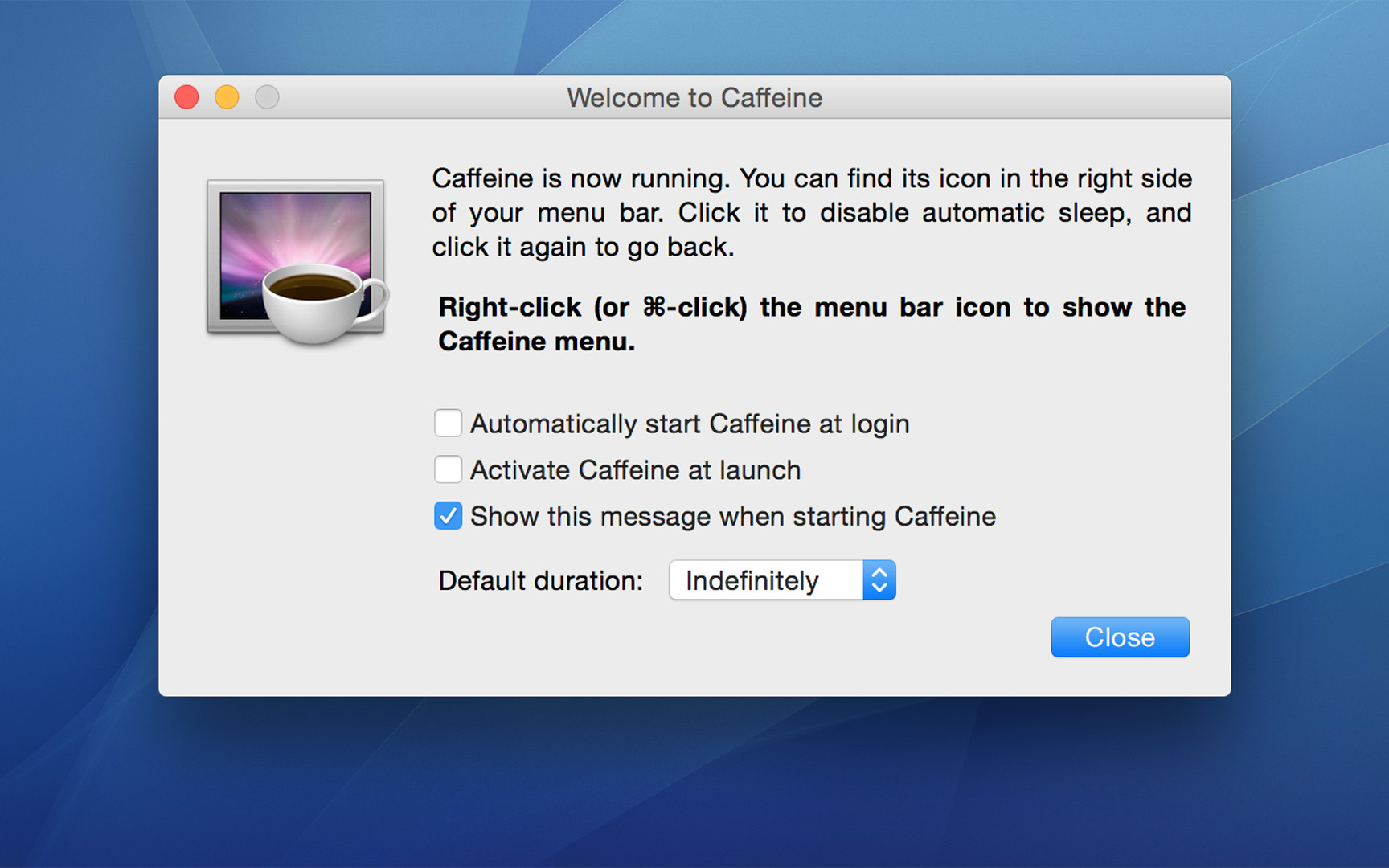 remove Caffeine on Mac
