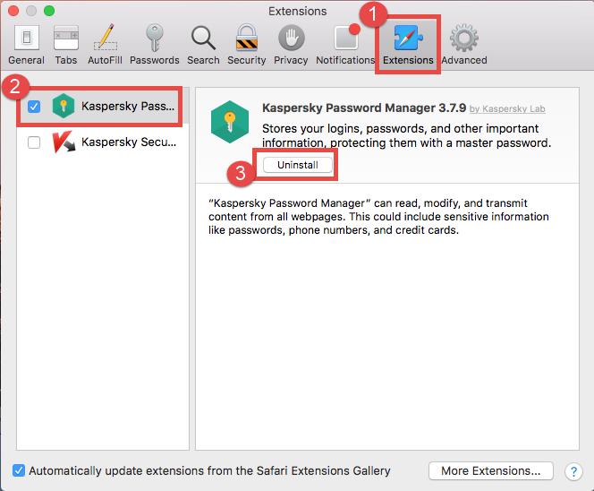 Delete Kaspersky Password Manager extension in Safari - osxuninstaller (2)