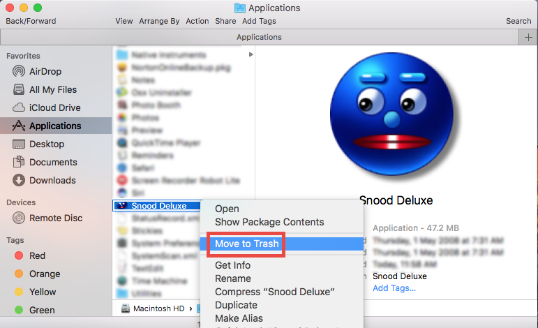 How to uninstall Snood Deluxe for Mac (5)