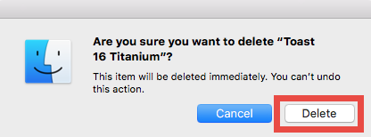 Uninstall and Remove Toast Titanium for Mac