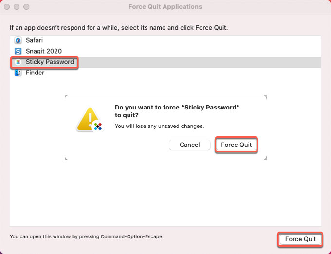 force quit Sticky Password