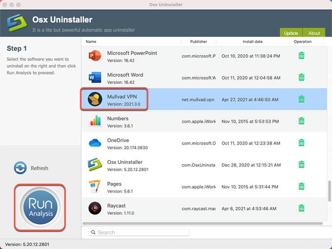 Uninstall Mullvad VPN
