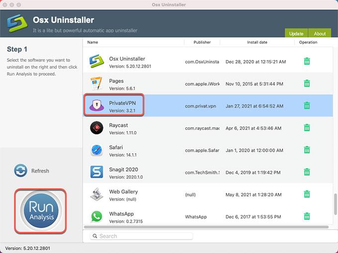 Uninstall PrivateVPN for Mac