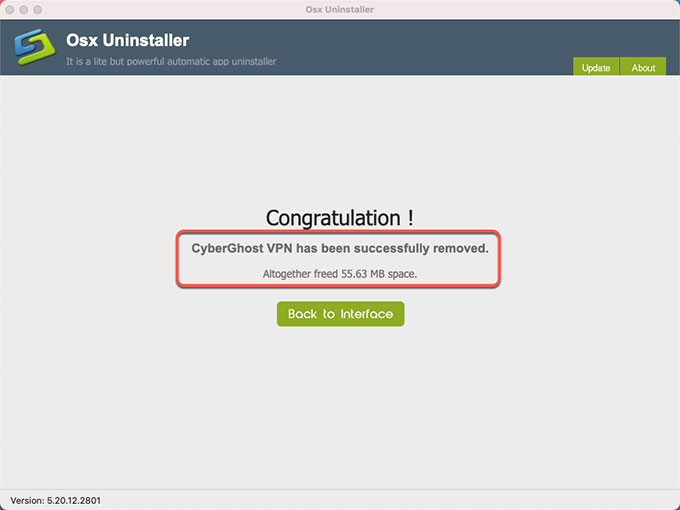 CyberGhost VPN is uninstalled