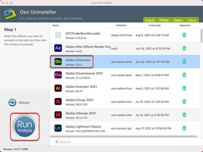 Uninstall Adobe Dimension