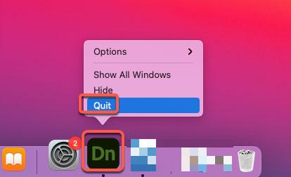 quit Adobe Dimension