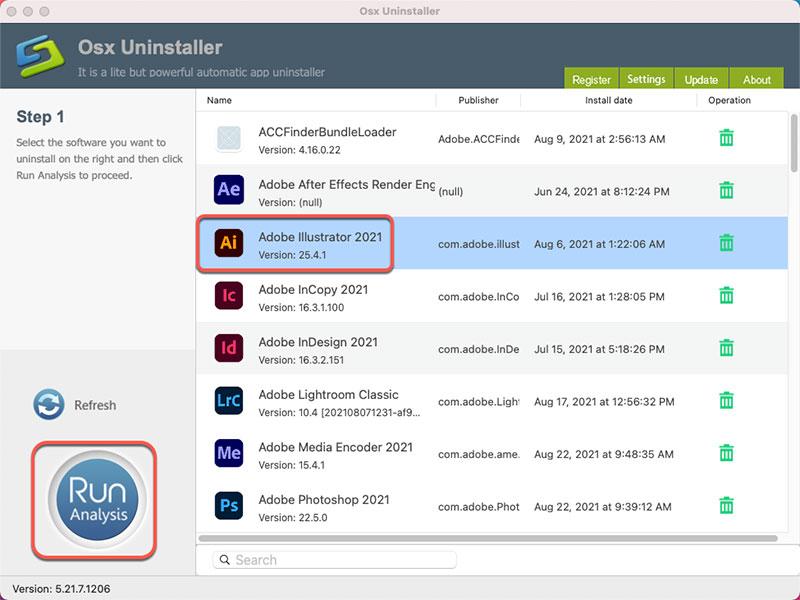uninstall Adobe Illustrator with Osx Uninstaller