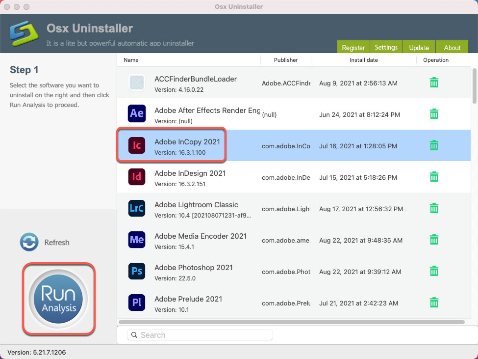 unisntall Adobe InCopy for Mac