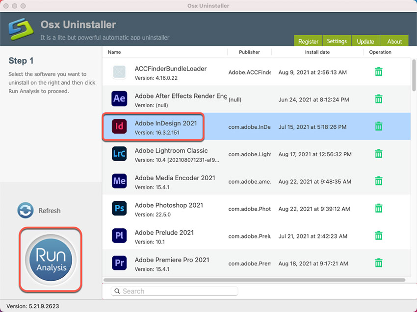 uninstall Adobe InDesign on Mac