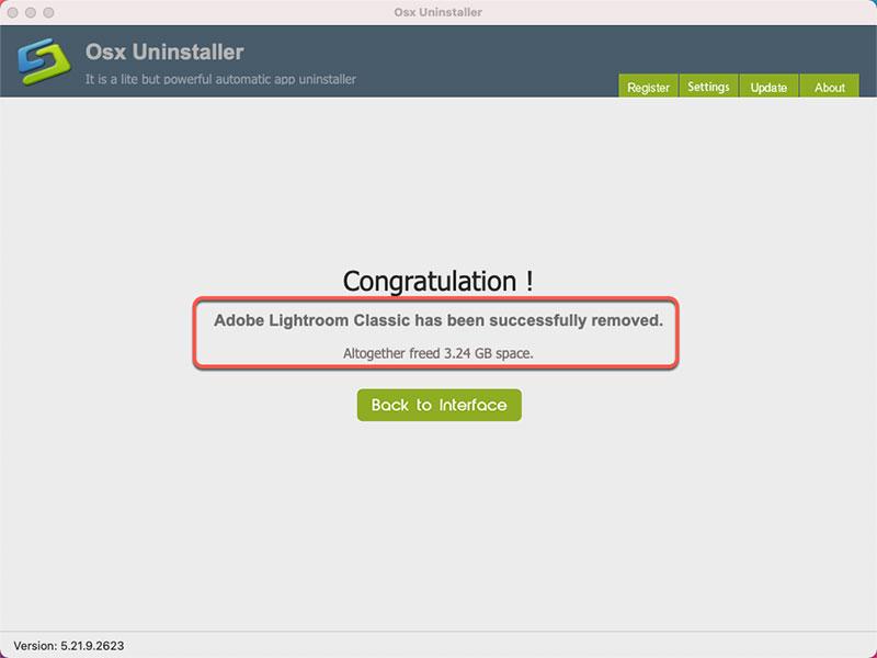 Adobe Lightroom Classic is uninstalled