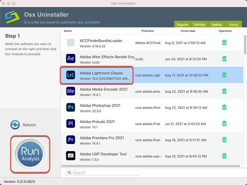 Osx Uninstaller uninstall Adobe Lightroom Classic